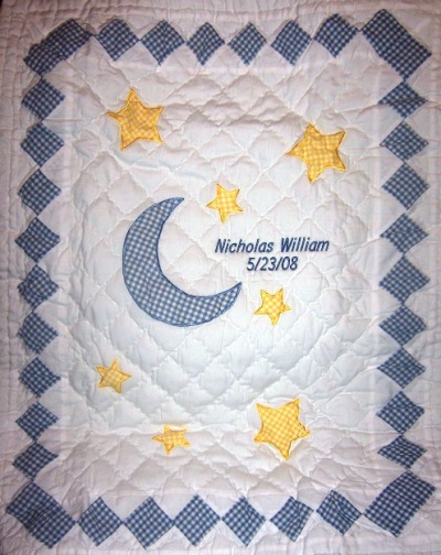 Personalized Baby Boy Blue Twinkle Design Baby Crib Quilts