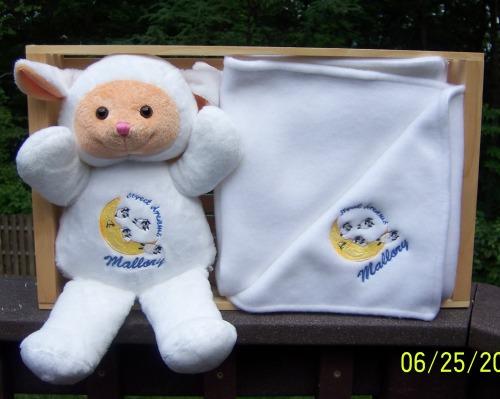 7a1db6c5ef6 White Personalized Embroidered Gift Set  Stuffed Lamb w Matching ...