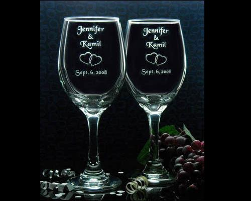 7012e62821c Custom Engraved Wedding Wine Glasses; Includes Couples Name and ...