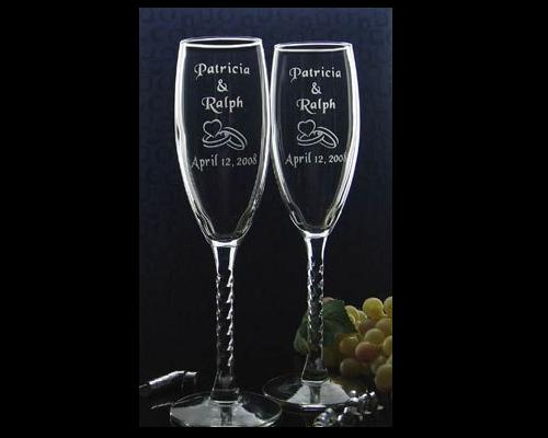 custom engraved wedding wine glasses includes couples name and